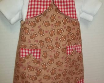 Christmas apron for 18 inch doll