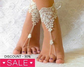 Beach anklets, wedding shoes, wedding shoes lace, wedding shoes for bride, wedding shoes ivory