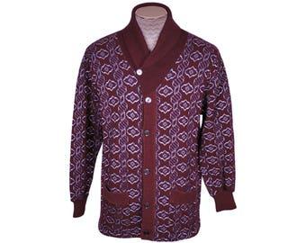 Vintage 1960s Mens Wool Cardigan Sweater - Shawl Collar Sweater - M
