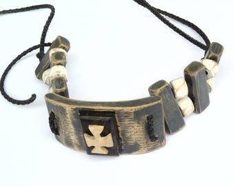 Oak bracelet polished black stone (stud)