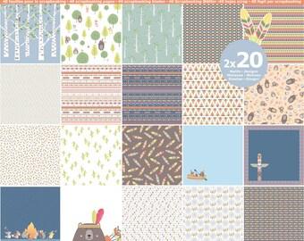 40 sheets paper Scrapbooking 30.5 x 30.5 - assortment paper Totem - block paper Totem - paper catches dreams