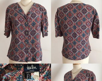 Vintage 80s Blouse Jean Muir for Fortnam & Mason Country Casuals Chic Unworn 12