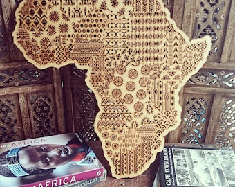 Large Bohemian Wooden Laser Cut Africa Map Wall Hanging