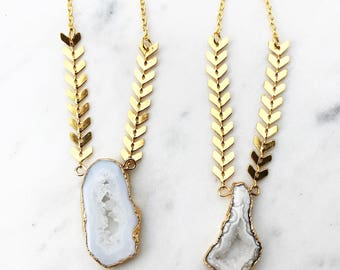 Gold Edged Druzy Pendant and Chevron Chain Gold Statement Necklace----> The Haute Bohemian Jewelry