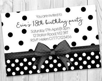Black Dotty Girl Adult Teenager Themed  Birthday Invites Printable Digital Jpeg File