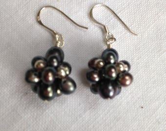 Black Pearl Cluster Sterling Silver Earrings