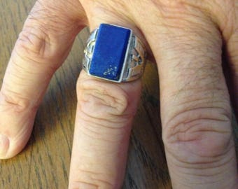 Man's Sterling Silver Lapis and Eagles Ring