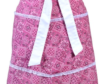 Flirty Retro Half Apron Pink Bandana Fabric Design White Lace Straight Style Skirt with Lined Skirt and Lined Pockets