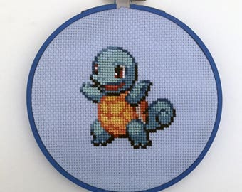 Squirtle - Pokemon Hoop Cross Stitch
