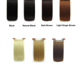 22 Inches Long Straight 3/4 Full Head Clip In Synthetic Hair Extensions Cosplay Party Costume Hair Piece