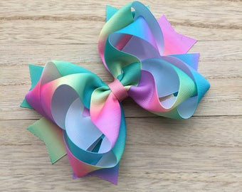 Double stacked hair bows, big hair bows, pink hair bows, rainbow hair bows, easter hair bows, double stack bows, blue bows, easter headbands