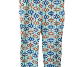 cigarette pants in fabric African blue wax