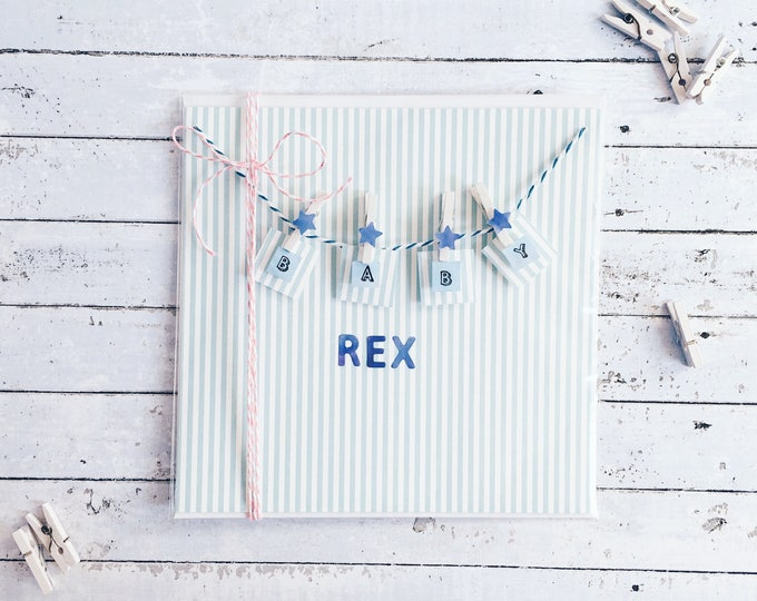 baby boy, bunting, personalised name card