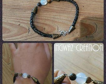 Viking Knit bracelet, opal and Tiger eye