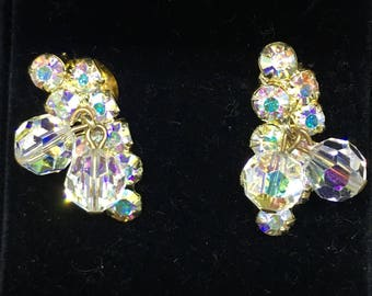 Vintage 1940/50 Quirky Aurora Borealis Cluster Earrings - converted from clip-on to pierced
