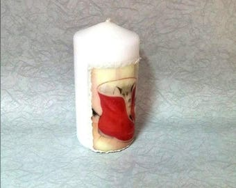 Candles Christmas, Christmas beautiful candle, Christmas gifts, Decoupage candle Christmas, Personalized gift,  Xmas decorations, Christmas,