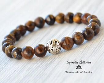 8mm Tiger eye Bracelet, Mens bracelet, Tiger eye Jewelry, Gift for men, Gemstone bracelet, Energy Bracelet, Brown bracelet, Gemstone Jewelry
