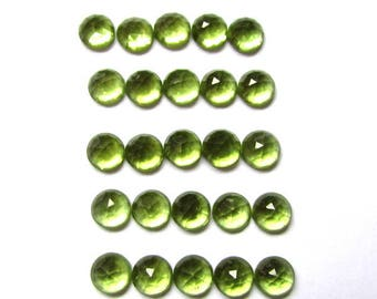 10pcs Lot 4mm Rose cut PERIDOT Round Rose Cut Cabochon gemstone AAA++ Quality 100% Natural 4mm peridot rose faceted cabochon calibrated gems