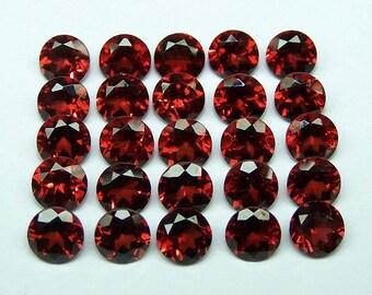 5 pieces 7mm Red Garnet Faceted Round Gemstone, 7mm RED GARNET Round Faceted gemstone, Red Garnet Faceted Round Gemstone, Faceted Red Garnet