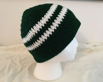 Beanie Hat Green and White