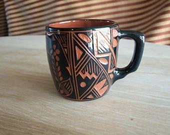 Handmade Native American Indian Pottery Stoneware Coffee Mug by Susan Sarracino of Acoma, New Mexico – Signed