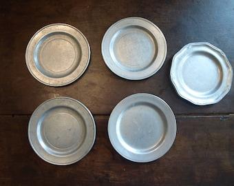 Wilton Columbia Armetale RWP Pewter Coaster Plates – 5 Total