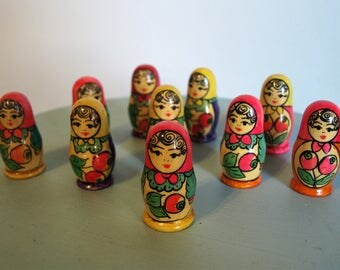 Hand Painted Russian Matryoshka Smallest Nesting Secret Dolls Lot of 10 – Mamushka Wooden Dolls