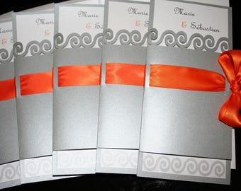 Silver Orange lace wedding invitation
