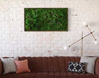 """Moss Wall Art ~ Moss Art Work ~ REAL Preserved Moss ~ No Maintenance Required Moss """"Living"""" Wall ~ 50x28"""" ~ """"Geo"""""""
