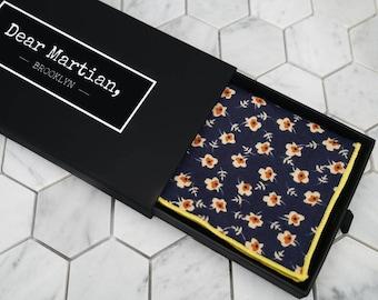 """Navy Floral Pocket Square. Mens Floral Handkerchiefs. Flower Cotton Hanky. 16"""" Square. Dear Martian Pocket Squares."""