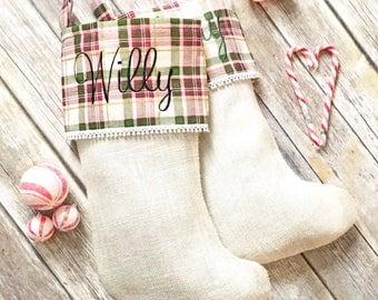Burlap Christmas Stockings- Christmas Stockings- Monogrammed Christmas Stockings- Rustic Christmas Stockings-Personalized Christmas Stocking