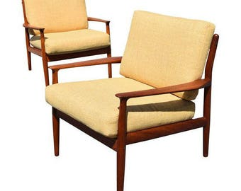 Vintage Grete Jalk for Glostrup Mobelfabrik Danish Modern Teak Easy Chairs - A Pair