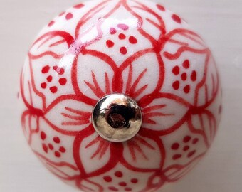 Vintage Ceramic Door / Drawer Knob ~  Intricate Red and White Floral Design Upcycling Project
