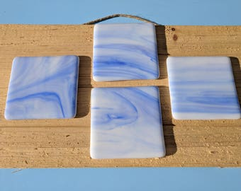 Blue and white coasters