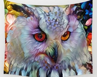 Owl Tapestry, Bird Tapestry, Animal Tapestry, Owl Wall Hanging, Animal Wall Hanging, Tapestry, Wall Hanging, Wall Decor, White Tapestry, Art