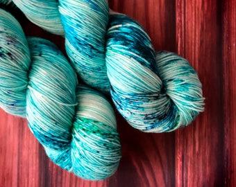 Hand Dyed Yarn, Sock Yarn, Indie Dyed Yarn, Merino Wool Yarn - Ocean Mist on Simple Sock
