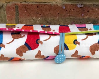 Crochet Hook Roll - Doxie with Sweaters