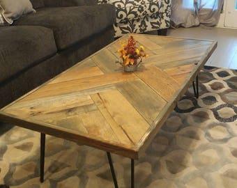 Herring Bone Coffee Table, Reclaimed Pallet Wood Coffee Table