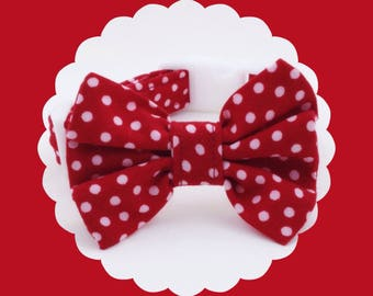 Red & White Dot Bow Dog or Puppy Collar