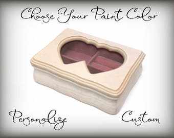 Personalized Gift, Heart Frame Jewelry Box, Hand Painted in Your Color Choice, Trinket Box, Wood Jewelry Box, Teen Girl Gift, Made To Order