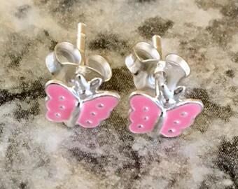 Sterling Silver Pink Butterfly Earrings