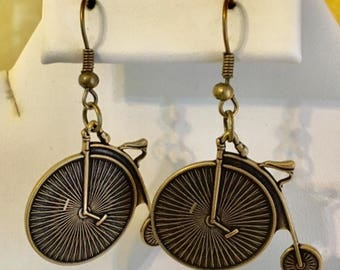 Antiqued Brass Penny Farthing Earrings