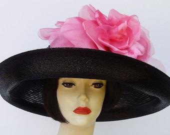 Black Designer Hat-Pink Rose