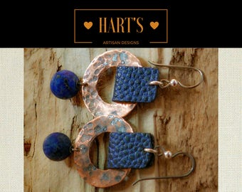 Leather Lapis Lazuli Niobium Earrings