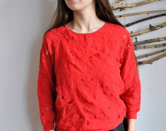 Red long sleeve 1990s 1980s vintage womens summer lace flowers shirt