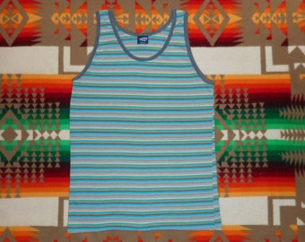 80s Striped Tank Top Shirt Size Small surf skate