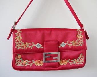 Vintage Red Oriental Embroidered Clutch/Purse Satin