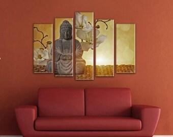 Extra Large Canvas Art, Interior Art, Living Room Decor, Flower Art, Wall decor 5 Panel Canvas, Print on Canvas, Orchid beautiful flowers