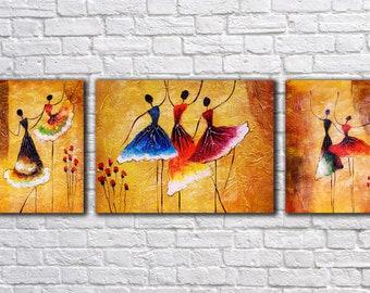 Dance Wall Art, Art Print on 3 Panel Canvas, Colorful painting , Canvas Art, Wall Decor,  Interior Art, Living Room Decor