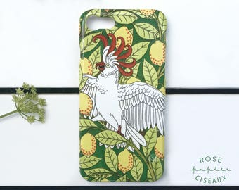 Cellphone case - Tropical style with a cockatoo, Poly-carbon, Lemon, Tropical leaves, Yellow, Green, White, iphone case, Slim fit case
